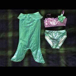 Disney Girls 3-piece Mermaid Bikini and Tail